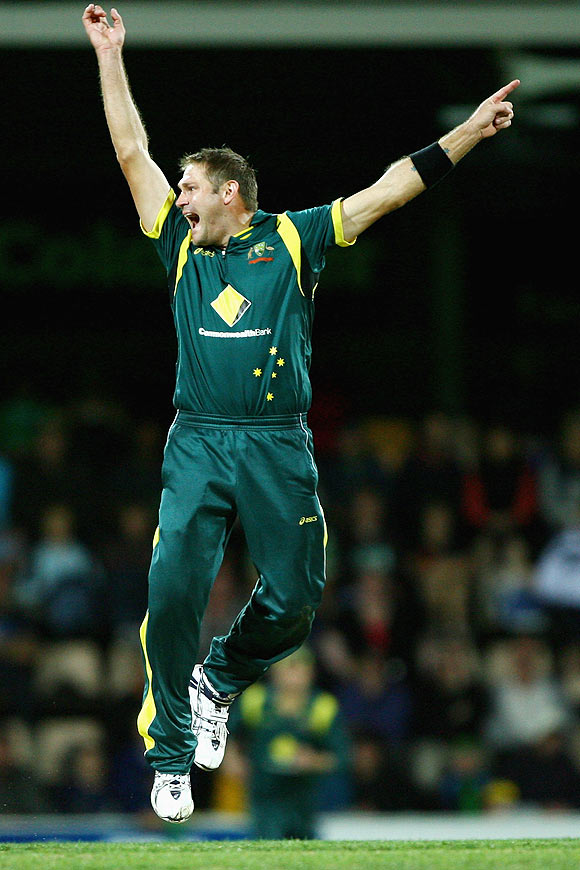 Ryan Harris celebrates after trapping Dinesh Chandimal leg before