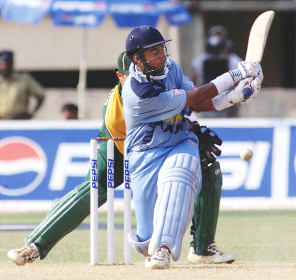 Ajay Jadeja hits a boundary during the first ODI against South Africa in Cochin, on March 9, 2000