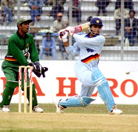 Sourav Ganguly hits a boundary against Pakistan during the final of the Independence Cup in Dhaka, on January 18, 1998