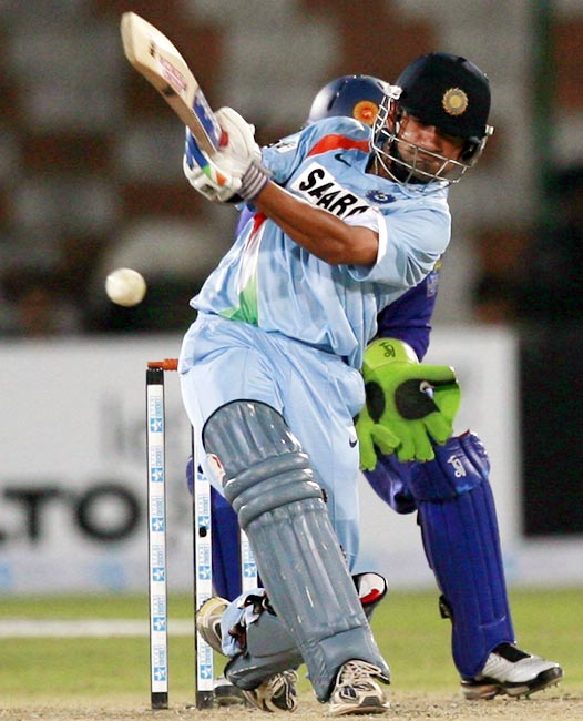 Gautam Gambhir plays a shot against Sri Lanka during the Asia Cup tournament at the National Cricket Stadium in Karachi, on July 3, 2008