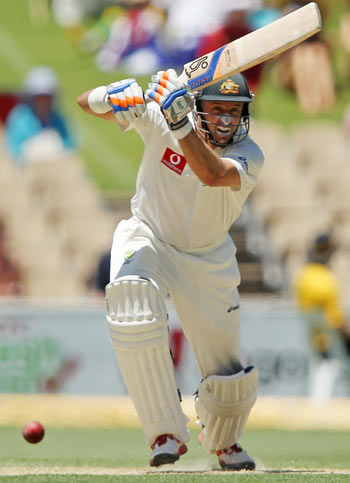 Michael Hussey bats during day two