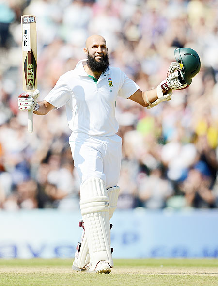 Hashim Amla of South Africa celebrates reaching his triple century