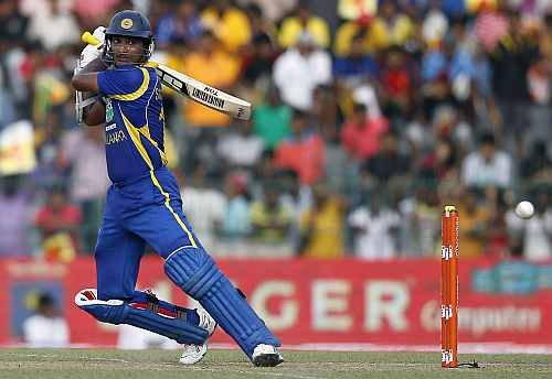 Kumar Sangakkara plays a shot during the third One-day in Colombo
