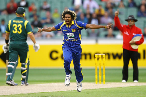 Lasith Malinga of Sri Lanka celebrates taking the wicket of Peter Forrest of Australia during the One Day International match between Australia and Sri Lanka
