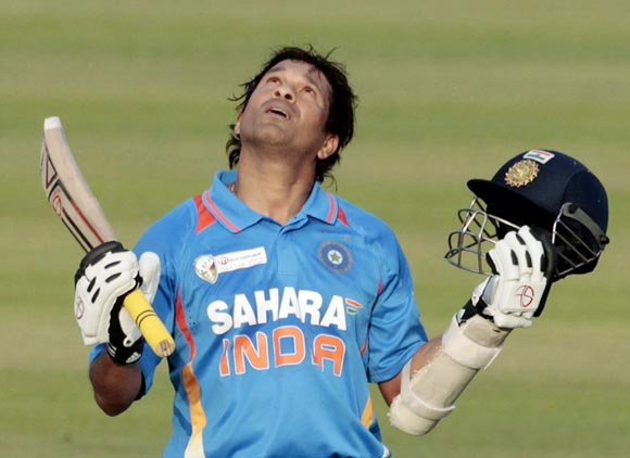 Sachin Tendulkar celebrates after getting his 100th century in international cricket