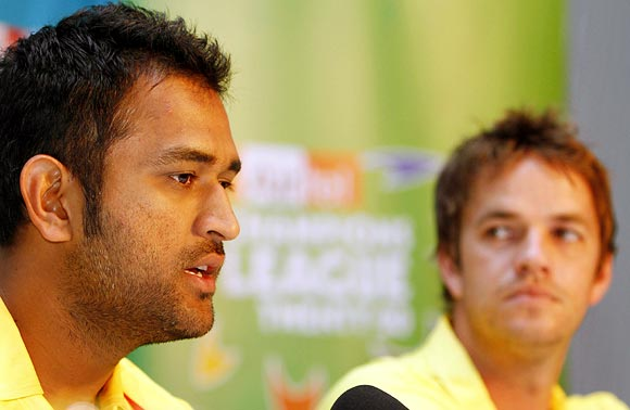 Albie Morkel (right) with Mahendra Singh Dhoni
