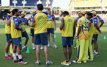 Chennai Super Kings attend a training session