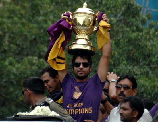 Kolkata Knight Riders spinner Iqbal Abdullah with the IPL trophy