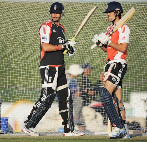 Kevin Pietersen and Alastair Cook of England