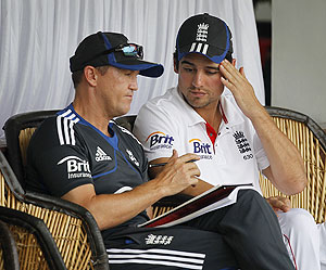 England's captain Alastair Cook (right) and team coach Andy Flower