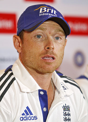 England's Ian Bell speaks during a news conference