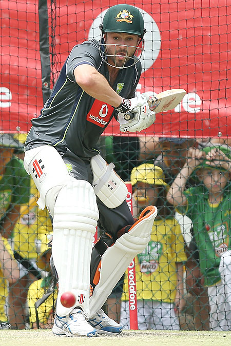Ed Cowan bats during an Australian nets session at The Gabba on Wednesday