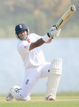 Samit Patel of England bats during Day 2 of the tour match against Haryana