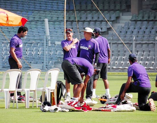 Yuvraj Singh (left) with coach Duncan Fletcher during Thursday's practice session at the Wankhede stadium in Mumbai