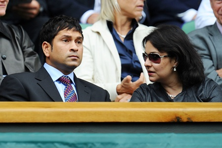 Cricketer Sachin Tendulkar and wife Anjali