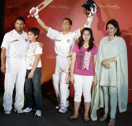 Indian cricketer Sachin Tendulkar (left), his son Arjun, daughter Sara and wife Anjali