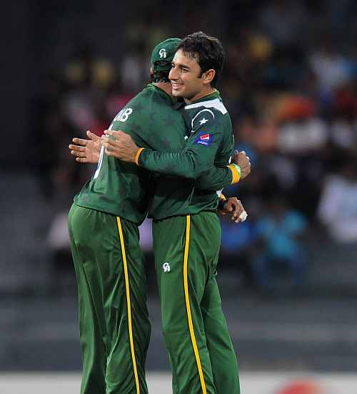 Saeed Ajmal celebrates the wicket of George Bailley during the ICC World Twenty20 2012 Super Eights Group 2 match