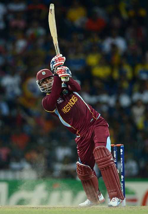Marlon Samuels of the West Indies bats during the ICC World Twenty20 2012 Final between Sri Lanka and the West Indies