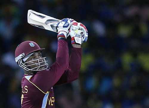 West Indies' Marlon Samuels plays shot during their World Twenty20 final cricket match against Sri Lanka in Colombo