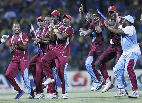 West Indies' players celebrate