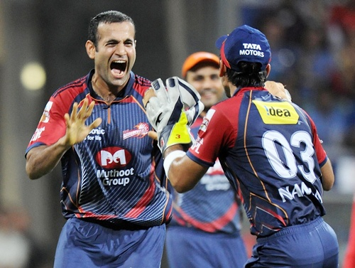 Irfan Pathan celebrates with teammates