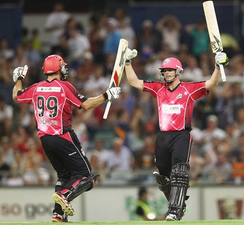 Steve Smith and Ben Rohrer of the Sydney Sixers