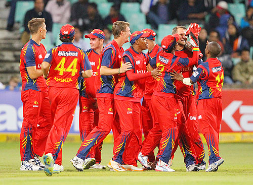 Highveld Lions players celebrate a wicket during their match against Delhi Daredevils on Thursday