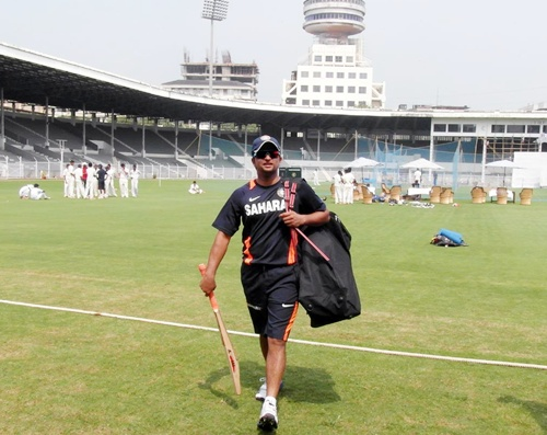 Suresh Raina walks out of the field after an India A practice session at Brabourne stadium in Mumbai on Monday