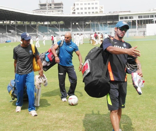 Manoj Tiwary walks off the field after the India A practice session at Brabourne stadium on Monday