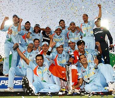 The Indian team celebrates after winning the inaugural WT20 championship in 2007