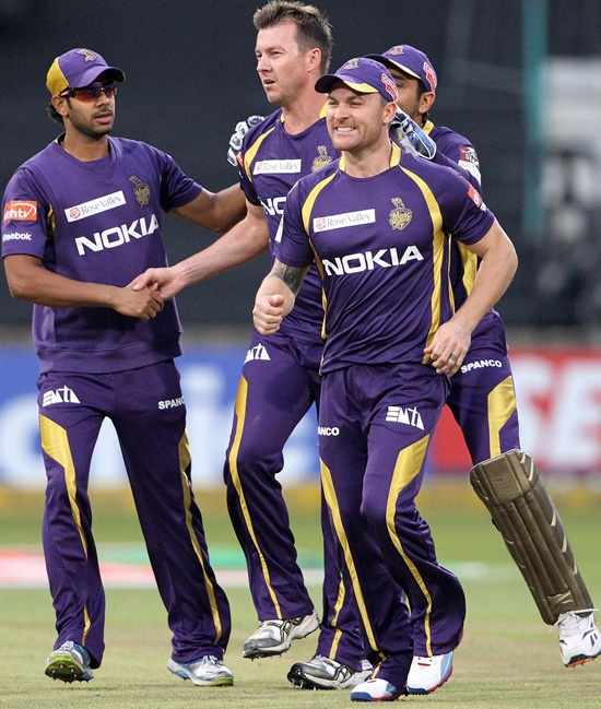 Brett Lee of Kolkata Knight Riders is congratulated by team