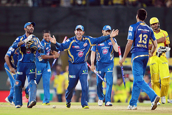 Mumbai Indians celebrate winning the match