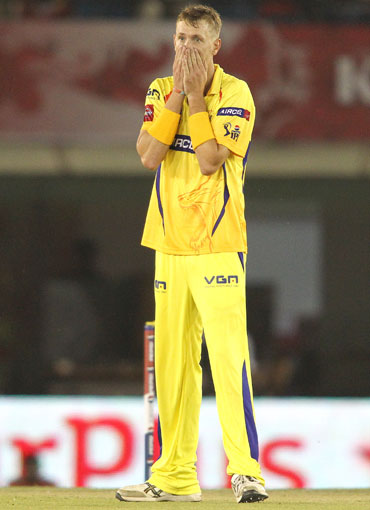 Chris Morris of Chennai Super Kings reacts after a dropped catch