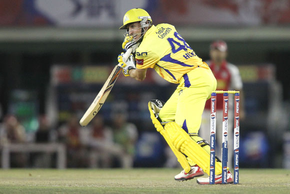 Michael Hussey of Chennai Super Kings looks for a run