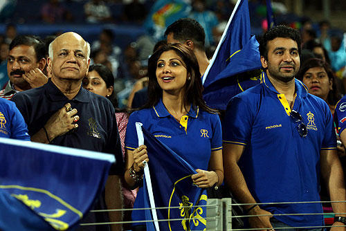 Shilpa Shetty and Raj Kundra, owner of Rajasthan Royals, watch their team in action against Pune Warriors on Thursday