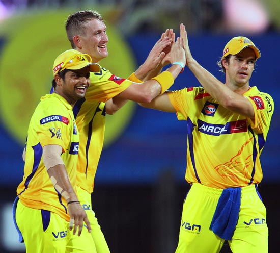 Chris Morris celebrates with Suresh Raina and Albie Morkel
