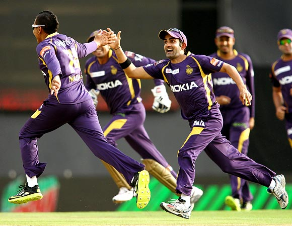 Sunil Narine celebrates after completing his hat-trick