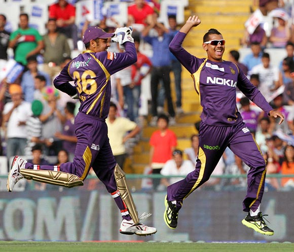 Narine celebrates with Bisla