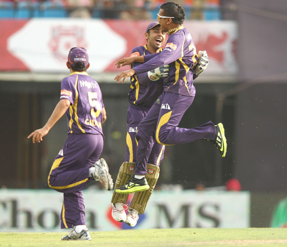 Sunil Narine of Kolkata Knight Riders celebrates his hat-trick