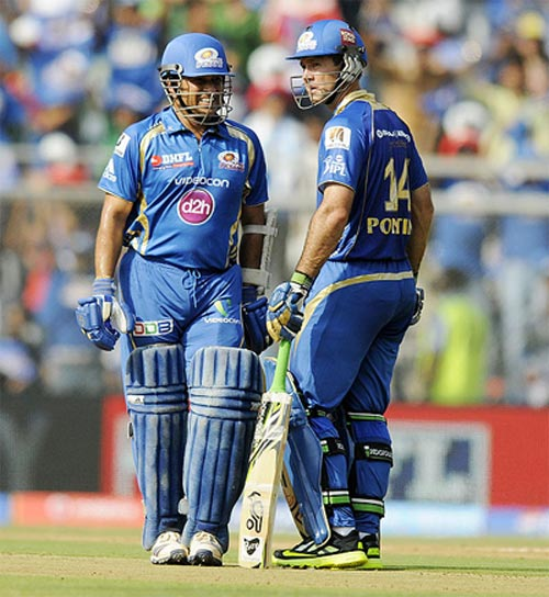 Mumbai Indians' Sachin Tendulkar and Ricky Ponting during an IPL match