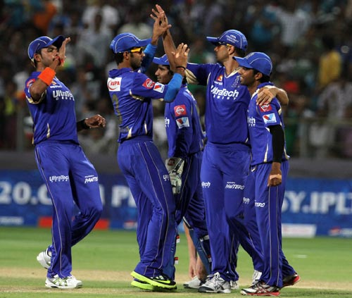 Rajasthan Royals players celebrate after picking up a wicket