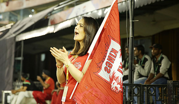 Kings XI Punjab co-owner Preity Zinta celebrates after the team's win on Sunday