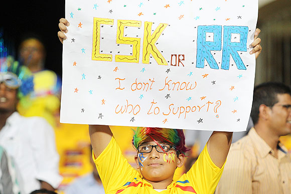 A supporter in the stands during the match between Chennai and Rajasthan on Monday