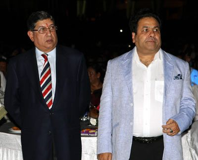 N Srinivasan (left) with Rajeev Shukla