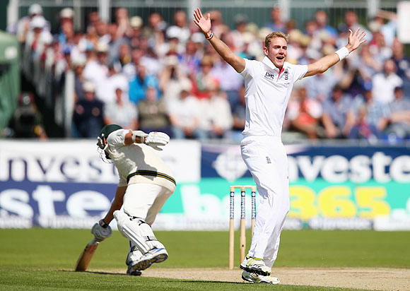 Stuart Broad appeals for the wicket of Ryan Harris in Chester-le-Street, on Sunday