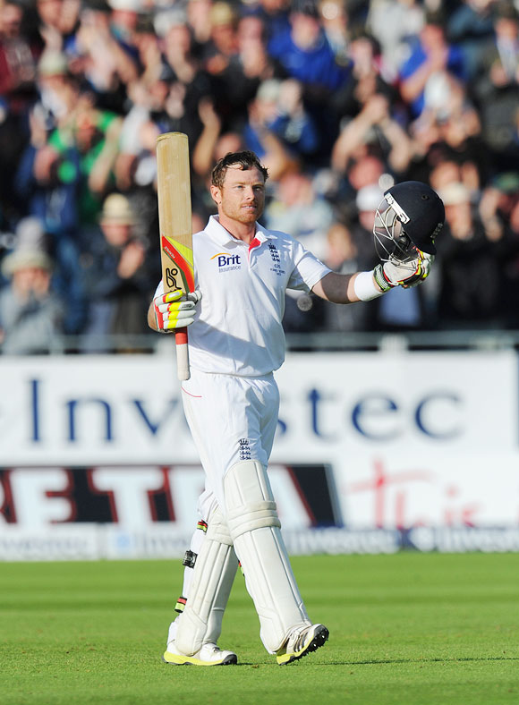 England batsman Ian Bell celebrates his century on Day 3 of the 4th Ashes Test in Chester-le-Street, on Sunday