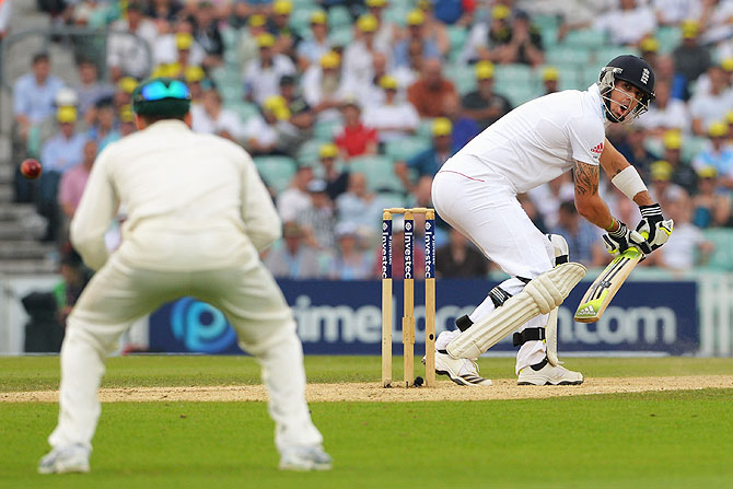 Kevin Pietersen plays the shot leading to his dismissal by Mitchell Starc on Friday