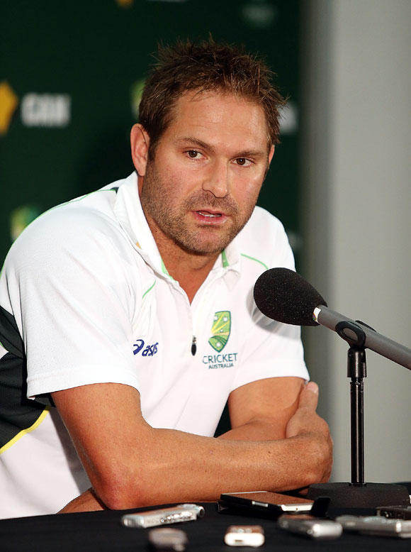 Ryan Harris speaks to the media during an press conference on Monday