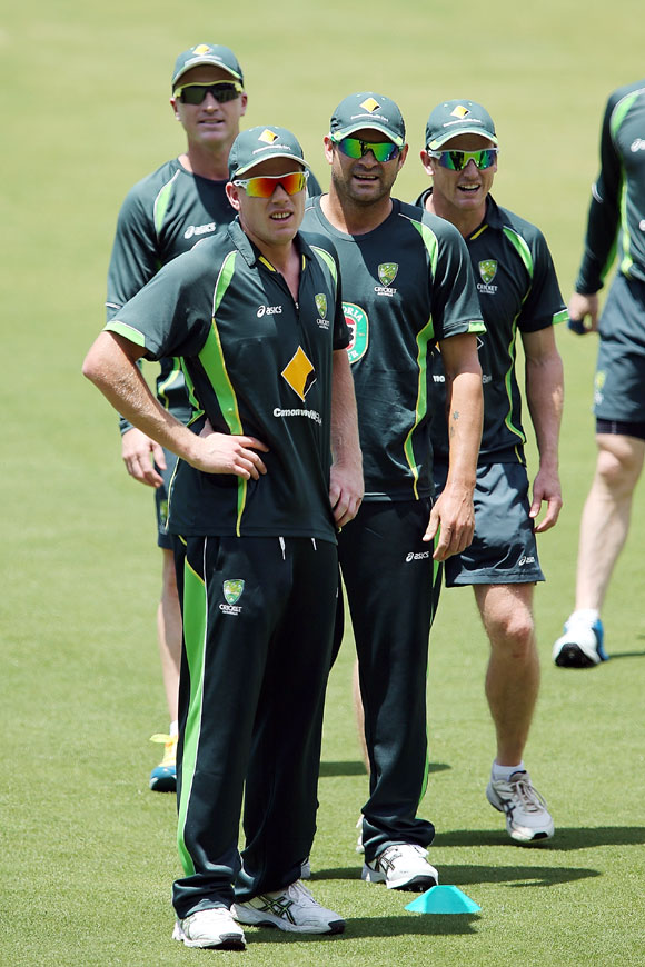 James Faulkner with teammates during an Australian nets session at Adelaide Oval in Adelaide, on Monday