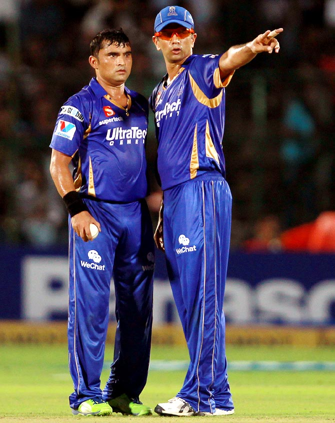 Pravin Tambe (left) with Rahul Dravid